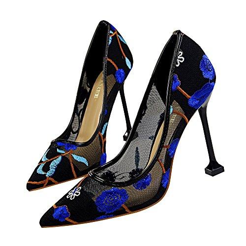 MINIVOG Womens Lace Wedding Pumps Bridal High Heels Evening Party Dress Heel Pump Blue 20DzrtSV