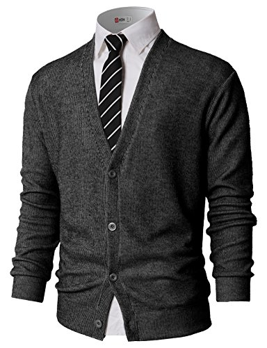 (H2H Mens Cardigan Knitwear Long Sleeve Button Sweater Charcoal US S/Asia M (KMOCAL0179))