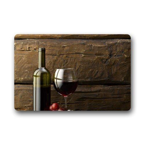 Liliynice - Felpudo para baño, Lavable a máquina, diseño de Botella de Uvas y Copa de Vino Tinto para Interior/Exterior,...