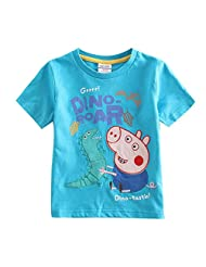 Peppa Pig Little Boys Short Sleeve Animal Pure-Color Cotton T-Shirts 1-6Y