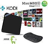 [2016 NEWEST TV BOX]ALSTEN Mini M8S II Android TV Box-Google Android 6.0-2G Memory Amlogic S905X-Ultra 4K Smart TV Box-KODI 16.1(XBMC)Streaming Media Player-WIFI Box(With Mini Wireless Keyboard)