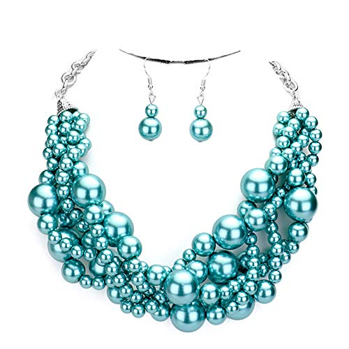 Fashion 21 Women's Simulated Faux Braided, Twist Multi-Strand Pearl Statement Collar Necklace and Earrings Set (Twisted - - Pearl Teal Set
