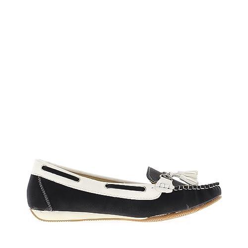 Confort Zapatos Mocasines Mujer Negro cuña pequeña - 37