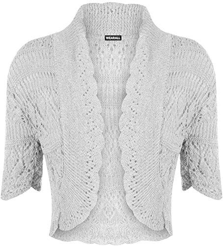 Ladies Crochet Shrug Knitted BoleroTop Women Short Cardigan Over Dresses 8-14