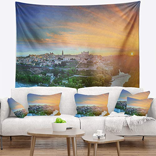 Designart TAP15145-39-32 'Hill Over The Tagus River Spain' Landscape Tapestry Blanket Décor Wall Art for Home and Office, Medium: 39'' x 32'' by Designart