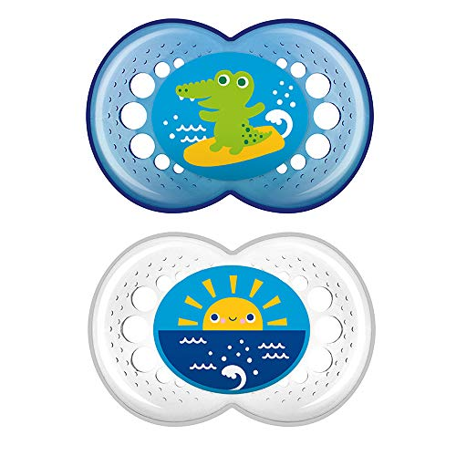 MAM Crystal Pacifier (2 pack, 1 Sterilizing Pacifier Case), Pacifiers 6 Plus Months, Best Pacifiers for Breastfed Babies…