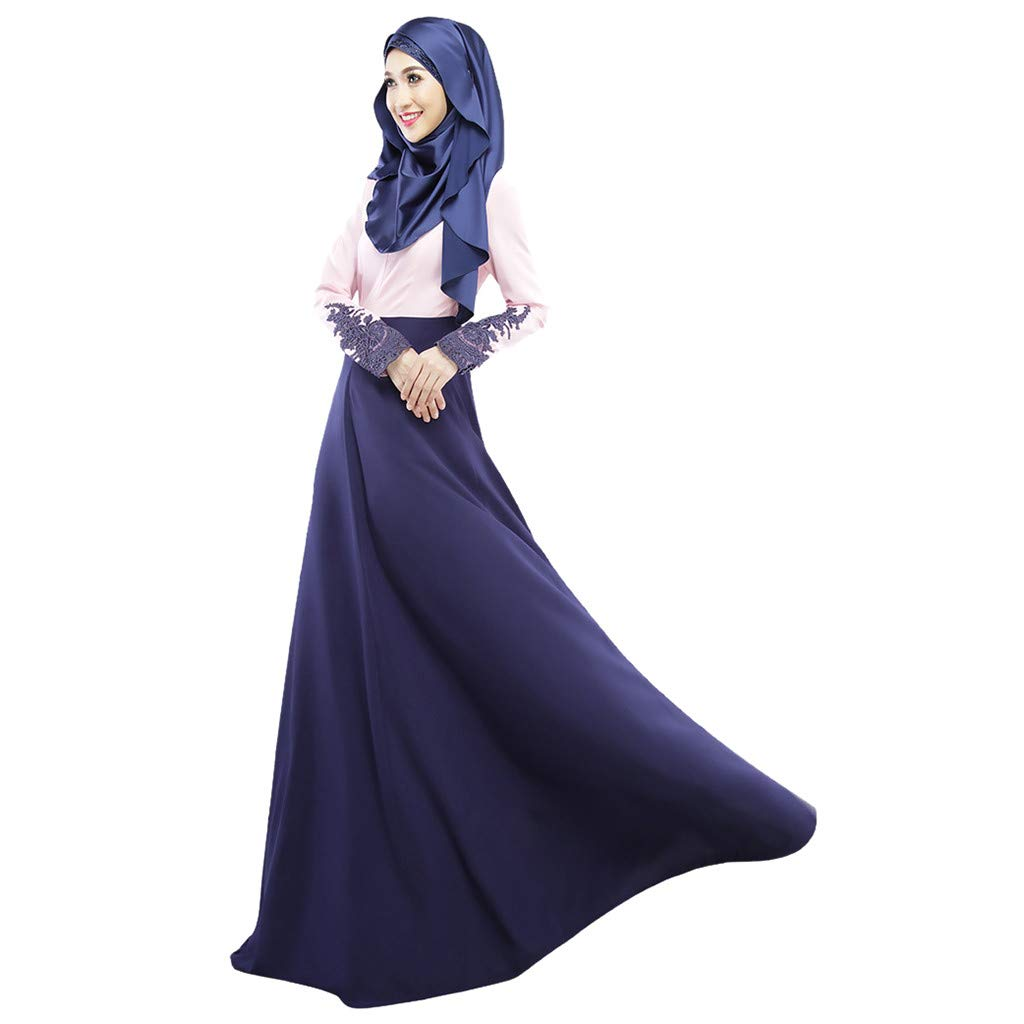 ZOMUSAR 2019 Muslim Single Layer Long Skirt Cuffs Lace Color Matching Hui Worship Service Blue by ZOMUSAR