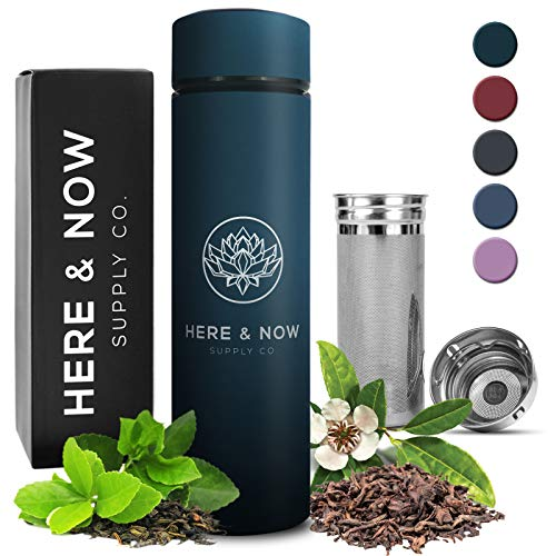 Multi-Purpose Travel Mug and Tumbler | Tea Infuser Water Bottle | Fruit Infused Flask | Hot & Cold Double Wall Stainless Steel Coffee Thermos | EXTRA LONG INFUSER | by Here & Now Supply Co. (Teal)