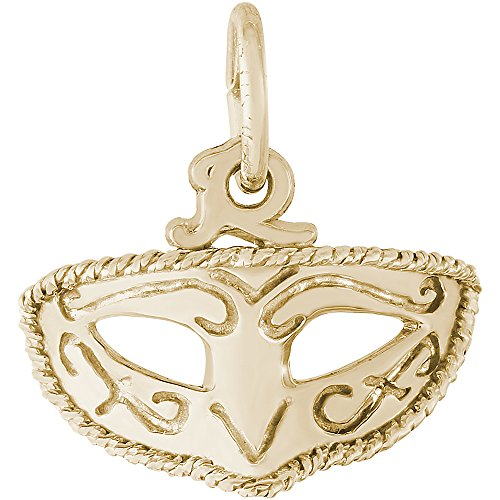 Rembrandt Charms 10K Yellow Gold Mardi Gras Mask Charm on 10K Gold Rope Chain Necklace, - Gras 18 Mardi Inch Mask
