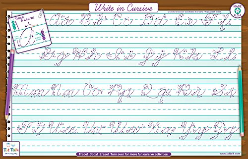 Tot Talk Write in Cursive Activity Educational Placemat for Kids, Washable and Long-Lasting ()