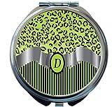 Rikki Knight Letter''D'' Lime Green Leopard Print Stripes Monogram Design Round Compact Mirror