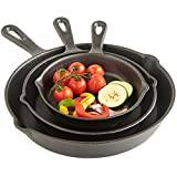 VonShef Pre Seasoned Non Stick Cast Iron Sauce Pan and Skillet Set Great for Frying, Saute, Cooking, Pizza and More, 6 inches, 8 inches, 10 inches, Black, 3 Piece Set