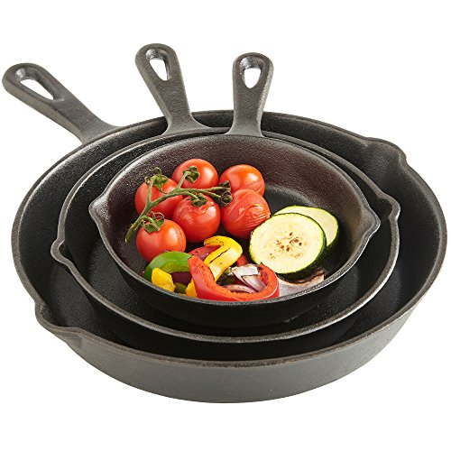 Cast Iron Non Stick Skillet - VonShef Pre Seasoned Non Stick Cast Iron Sauce Pan and Skillet Set Great for Frying, Saute, Cooking, Pizza and More, 6 inches, 8 inches, 10 inches, Black, 3 Piece Set
