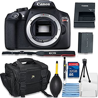 Canon EOS Rebel T6 Digital SLR Camera Body Only Bundle includes Camera, 32GB Memory Card, Bag, Cleaning Kit - International Version