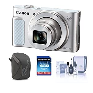 Canon PowerShot SX620 HS Digital Camera, Silver - Bundle with Camera Case, 16GB SDHC Card, Cleaning Kit