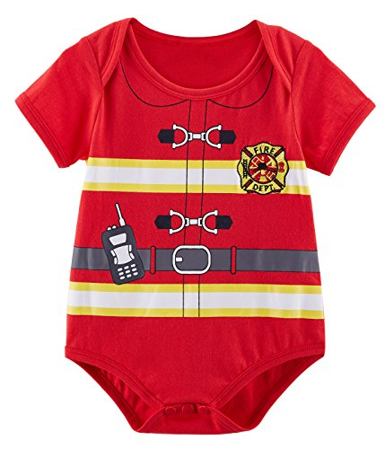 Family Costumes With Newborn (Mombebe Baby Fireman Costume Bodysuit (0-3 Months, Red))