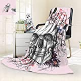 vanfan Silky Soft Plush Warm Blanket Autumn WinterSkull Blooms Catholic Popular Ceremony Celebrating Artistic Vintage Design Soft,Silky Soft,Anti-Static,2 Ply Thick Blanket. (80''x60'')