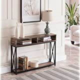 Black Console Table With Storage Intended Reclaimed Weathered Oak Finish Top Black Metal Xdesign Frame 2tier Sofa Amazoncom Console Tables Tables Home Kitchen