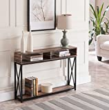 Reclaimed Weathered Oak Finish Top/Black Metal X-Design Frame 2-Tier Sofa Console Table with Two Storage Compartments