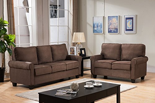Kings Brand Furniture Chocolate Microfiber Sofa & Loveseat L