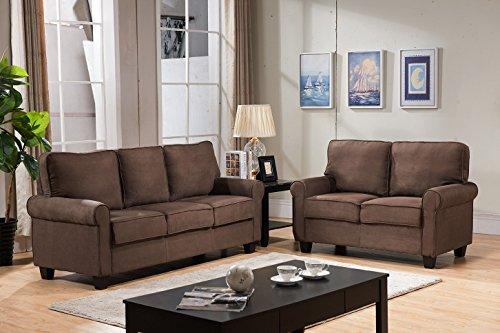 Kings Brand Furniture Chocolate Microfiber Sofa & Loveseat L