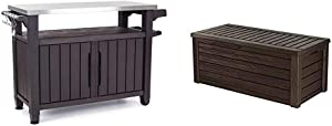Keter Unity XL Portable Outdoor Table and Storage Cabinet with Hooks for Grill Accessories-Stainless Steel Top, Espresso Brown & Westwood 150 Gallon Resin Large Deck Box-Organization and Storage