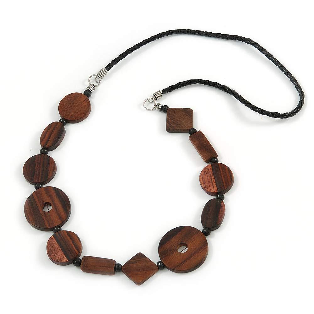 70cm L Avalaya Brown Geometric Wood Bead Black Leather Style Necklace