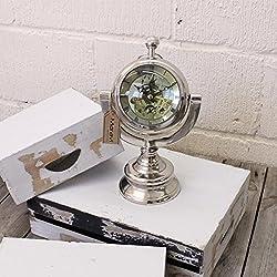 Maravi Chrome Nautical Orb Desk Clock Moving Mechanism Eyeball Mantelpiece