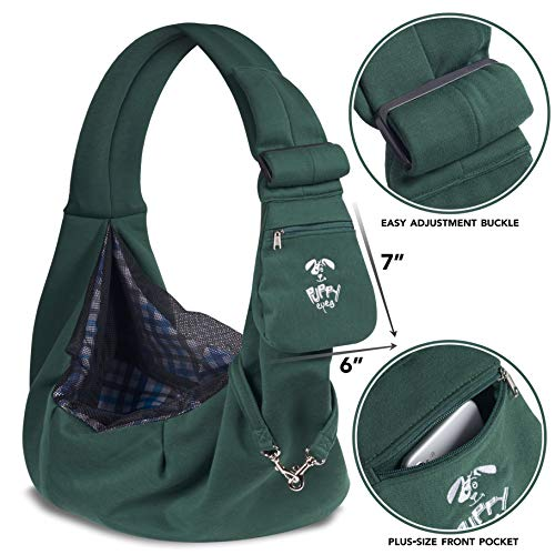 Puppy Eyes Soft Pet Carrier Sling Comfortable and Adjustable Dog Sling Ideal for Small & Medium Dogs up to 16 Pounds - Lightweight & Easy-Care Dog Carrier with Safety Mesh and Safety Leash(Green)