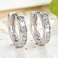 Sumanee Women Lady Silver Hoop Earrings Crystal Heart Stud Women Round Wedding Jewellery