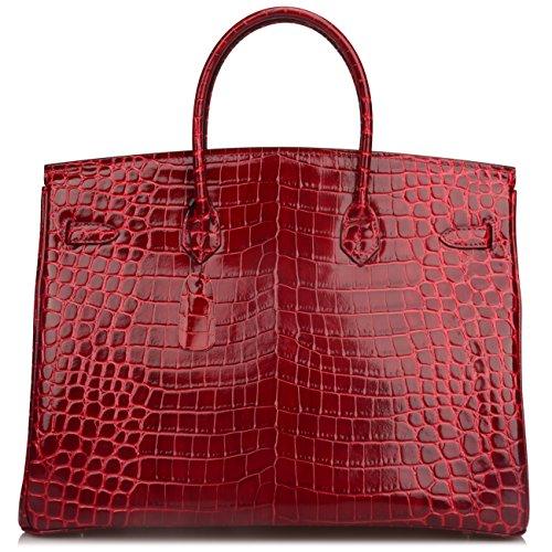 Ainifeel 40cm Oversized Patent Leather Padlock Handbag Business Purse (40cm OVERSIZE, Claret red) by Ainifeel (Image #3)