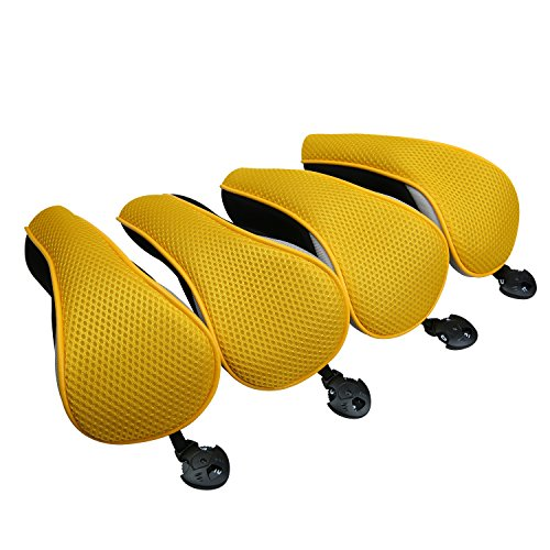(Sword &Shield sports Golf Hybrid Club Head Covers Set of 4 with Interchangeable No. Tag UT Cover (Yellow))