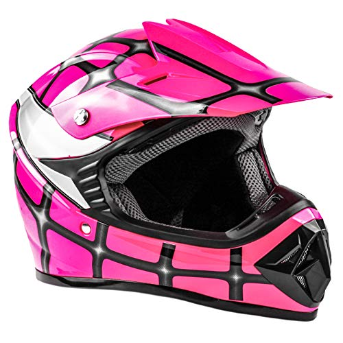 Kids Youth Offroad Helmet DOT Motocross ATV Dirt Bike MX Motorcycle Spiderman Pink, X-Large ()