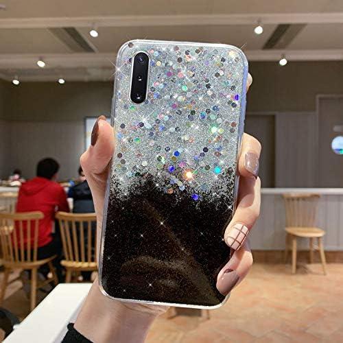 Urhause Kompatibel mit Samsung Galaxy Note 10 Hülle TPU Silikon Schutzhülle,[Glänzend Glitzer Bling Silikonhülle] Hülle Gemalt,Ultra Slim Durchsichtig mit Muster Bumper Stoßfest Hülle Case,Schwarz