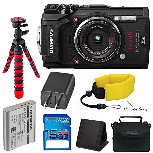 Olympus TG-5 Waterproof Camera with 3-Inch LCD (Black) with I3ePro 16GB Class 10 SD Card, Camera Case and Accessory Bundle -