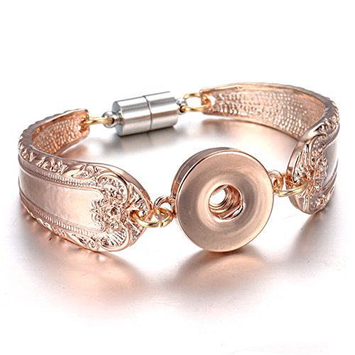 mymate Snap Jewelry Silver 18mm Snap Buttons Bracelet Flowers Carved Vintage Snap Bracelets for Women Men ()