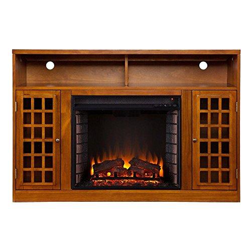 Amelia 48 in. Freestanding Media Electric Fireplace in Glazed Pine