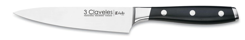 3 Claveles - Cuchillo Cocinero Forjado, Pulido Mate, Acero Inoxidable, línea Toledo - (13cm - 5