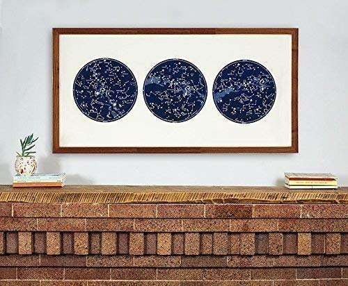 Large Horizontal Star Map, Large Constellation Over the fireplace art by Capricorn Press