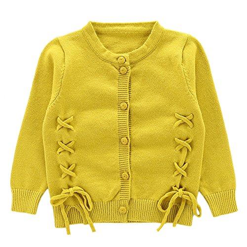 Moonnut Girls Cardigan Sweaters Cute Alpaca Pattern Long Sleeve Knitted Outwear (4T, Lace-up-Yellow) (Kids Alpaca Sweater)