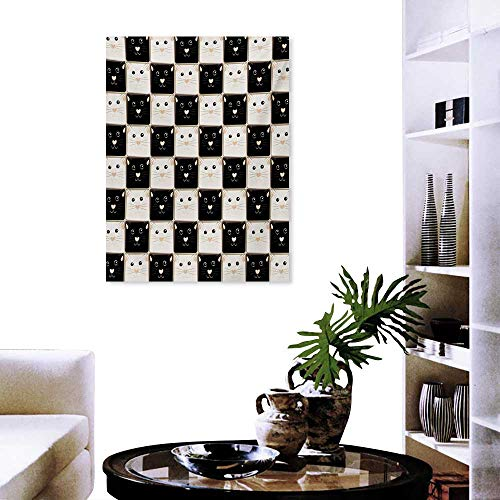 Checkers Game Art-Canvas Prints Checkered Squares with Cute Cat Faces in Classic Game Board Pattern Print Paintings for Home Wall Office Decor 32
