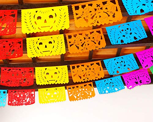 5 Pack Day of The Dead Banners Party Decorations, Dia de Muertos 60 feet Long Party Supplies Papel Picado Banner Paper WS200