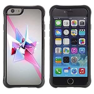 WAWU Funda Carcasa Bumper con Absorci??e Impactos y Anti-Ara??s Espalda Slim Rugged Armor -- diagonal shapes polygon purple pink -- Apple Iphone 6