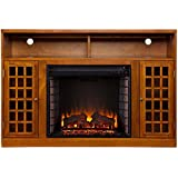 Amelia 48 in. Contemporary Freestanding Portable Indoor Electric Fireplace Media Console in Modern Glazed Pine