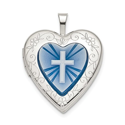 925 Sterling Silver 20mm Blue Resin Cross Religious Cameo Heart Photo Pendant Charm Locket Chain Necklace That Holds Pictures Fine Jewelry Gifts For Women For Her