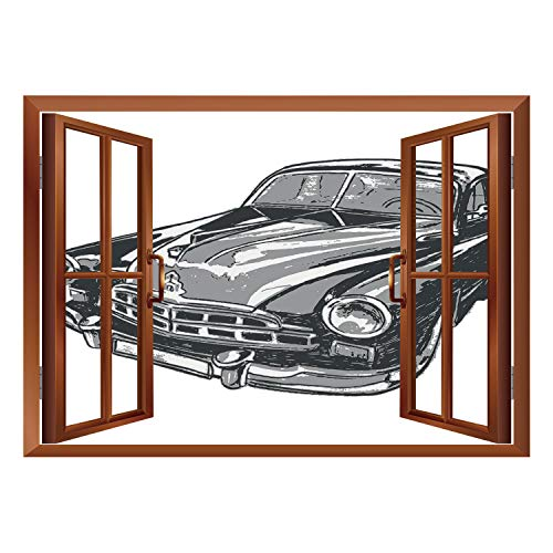 SCOCICI Wall Sticker,Window Looking Out Into/Cars,Hand Drawn Vintage Vehicle with Detailed Front Part Hood Lamps Rear View Mirror,Grey Blue Grey/Wall Sticker Mural