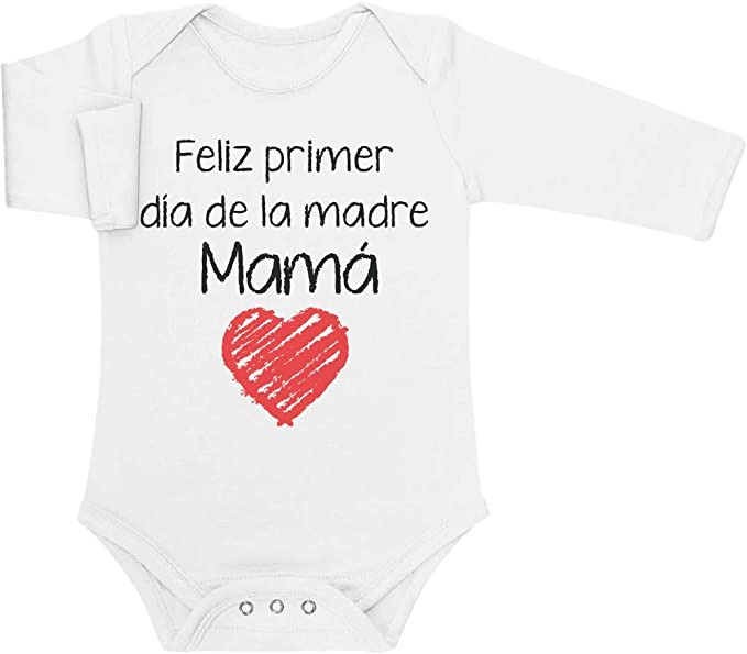 para Mam/á en su D/ía Feliz Primer D/ía de la Madre Body de Manga Larga para beb/é