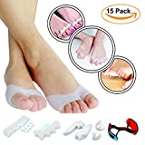FootCarely Toe & Bunion Relief Package (Pack of 15) - Toe Straightener, Separator, Spreader, Corrector, Protector, Spacer & Stretcher - Bunion Night Splint, Shield, Support, Cushions, Bootie & Sleeve