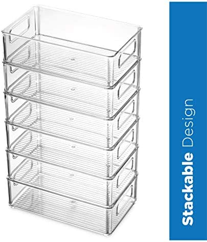 """517Q Set Of 6 Refrigerator Organizer Bins - Stackable Fridge Organizers with Cutout Handles for Freezer, Kitchen, Countertops, Cabinets - Clear Plastic Pantry Food Storage Rack    Keep your refrigerator, freezer, countertops, kitchen cabinet or pantry neatly organized with these stackable fridge organizer pantry storage bins. Ideal sized to fit fruits, vegetables yogurts, canned goods, food packets, cheese, meat, also good for storing dry goods in the pantry. Ideal for kitchens, countertops, pantry shelves, refrigerators, freezers, cabinets, or as drawer organizers. Practical Stackable design to help maximize your space. Stack or use them side by side to keep items organized and easy to find. Each bin measures Approx. 10"""" L × 6"""" W × 3"""" H. Great for closets, bedrooms, bathrooms, laundry rooms, craft rooms, mudrooms, offices, play rooms, garages, or any room of your home / apartment / condo / dorm room / RV or camper. Made of durable high quality 100% food safe BPA Free shatter-resistant plastic Designed with practical carry handles and interior non slip texture, clean with warm soapy water. Do not place in dishwasher"""