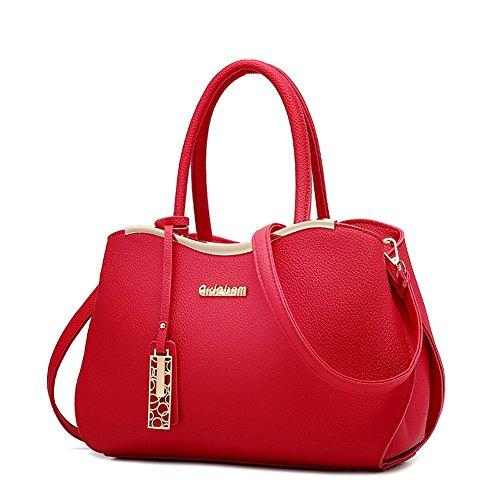 (G-AVERIL)Donna Borsa Handbag borsa a Spalla Borse a mano Tote Bag Shoulder Bag con Mutil tasche Vino rosso